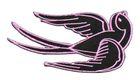 Applikation Tribal Schwalbe Farbe: Schwarz-Pink 10,4 x 5,2cm