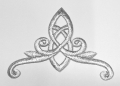 1 Stück Applikation Tribal 11 x 8cm Farbe: Lurex-Silber