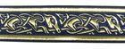 10m Mittelalter Borte Webband 35mm breit Farbe: Dunkelblau-Gold