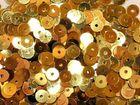 12 Gramm Pailletten 6mm uni plan AA365-4 Farbe: Altgold