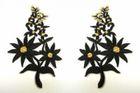 1 Paar Blumenapplikationen AF74-3 Farbe: schwarz