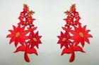 1 Paar Blumenapplikationen AF74-6 Farbe: rot