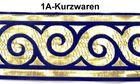 1m Mittelalter Borte Webband 70mm breit Farbe: Dunkelblau-Gold