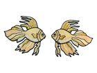 1 Paar Applikationen Fische 7x7cm Farbe: Beige-Gold