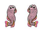 1 Paar Applikationen Fische AA457-7 Farbe: Rosè