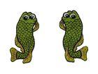 1 Paar Applikationen Fische AA457-17 Farbe: Grasgrün