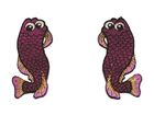 1 Paar Applikationen Fische AA457-3 Farbe: Lila