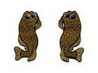 1 Paar Applikationen Fische AA457-26 Farbe: Braun