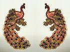 1 Paar Applikationen Vogel Pfau 5,5x11cm Farbe: Dunkelrot