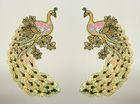 1 Paar Applikationen Vogel Pfau 5,5x11cm Farbe: Weiss-Rosa