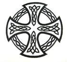 Applikation Tribal keltisches Kreuz 9,5cm Farbe: Weiss-Schwarz