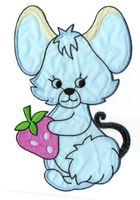 Applikation Maus 20,5 x 13cm Farbe: Blau-Beige-Pink