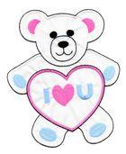 Applikation Teddy / Bär 16 x 20cm Farbe: Weiss-Pink-Blau