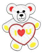 Applikation Teddy / Bär 16 x 20cm Farbe: Weiss-Rot-Gelb