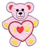 Applikation Teddy / Bär 16 x 20cm Farbe: Rosa-Rot-Gelb