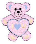 Applikation Teddy / Bär 16 x 20cm Farbe: Rosa-Blau-Beige