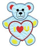 Applikation Teddy / Bär 16 x 20cm Farbe: Blau-Rot-Gelb