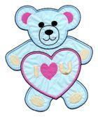 Applikation Teddy / Bär 16 x 20cm Farbe: Blau-Pink-Beige