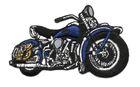 Applikation Patch Biker Motorrad Cars 9,5 x 6cm Farbe: Royalblau
