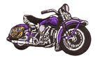 Applikation Patch Biker Motorrad Cars 9,5 x 6cm Farbe: Lila