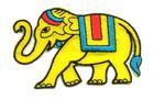 Applikation Sticker Patch Elefant 8 x 5cm Farbe: Gelb