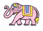 Applikation Sticker Patch Elefant 8 x 5cm Farbe: Rosa