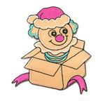 Applikation Patch Sticker Clown aus der Kiste 5,8 x 7,4cm Farbe: Terracotta-Pink