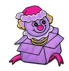 Applikation Patch Sticker Clown aus der Kiste 5,8 x 7,4cm Farbe: Violett-Fuchsia