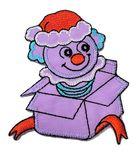 Applikation Patch Clown aus der Kiste 5,8 x 7,4cm Farbe: Violett-Terracotta