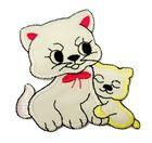 Applikation Patch Katzenpaar 6,5 x 7cm Farbe: Beige-Rot-Gelb