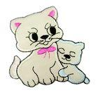 Applikation Patch Katzenpaar 6,5 x 7cm Farbe: Beige-Pink-Blau