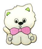 Applikation Patch Katze 6 x 7cm Farbe: Beige-Pink-Grün