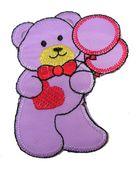 Applikation Patch Teddy Bär 6,2 x 8cm Farbe: Violet-Gelb-Orange