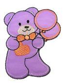 Applikation Patch Teddy Bär 6,2 x 8cm Farbe: Violet-Orange
