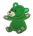 Applikation Patch Sticker Teddy Bär 6 x 7,4cm Farbe: Grün-Türkis-Beige-Pink