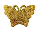 1 Applikation Patch Schmetterling 3,5 x 2,5cm Farbe: Lurex-Gold