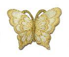 1 Applikation Patch Schmetterling 3,5 x 2,5cm Farbe: Beige