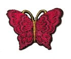 1 Applikation Patch Schmetterling 3,5 x 2,5cm Farbe: Dunkelrot