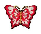 1 Applikation Patch Schmetterling 3,5 x 2,5cm Farbe: Rot-Weiss