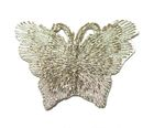 1 Applikation Patch Schmetterling 3,5 x 2,5cm Farbe: Lurex-Silber