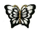 1 Applikation Patch Schmetterling 3,5 x 2,5cm Farbe: Schwarz-Weiss