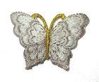 1 Applikation Patch Schmetterling 3,5 x 2,5cm Farbe: Grau