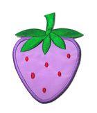 Applikation Patch Sticker Erdbeere 6 x 8cm Farbe: Violett-Rot