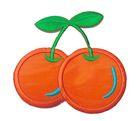Applikation Patch Sticker Kirschen 7,6 x 7,2cm Farbe: Orange-Blau