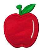 Applikation Patch Sticker Apfel 6 x 7,7cm Farbe: Rot-Weiss