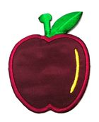 Applikation Patch Sticker Apfel 6 x 7,7cm Farbe: Dunkelrot-Gelb