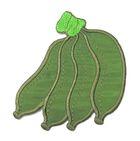 Applikation Patch Sticker Bananen 6,5 x 7,8cm Farbe: Grün
