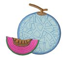 Applikation Patch Sticker Melone 7,2 x 7,5m Farbe: Blau-Fuchsia