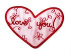 "Applikation Patch Sticker Herz ""Love You"" 8 x 5,5cm Farbe: Rot"