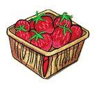 Applikation Patch Sticker Früchtekorb mit Erdbeeren 8 x 6,7cm